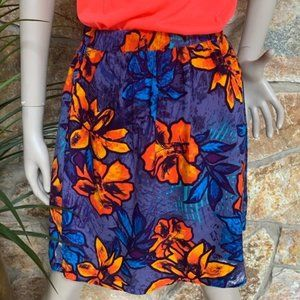 French Connection Blue Tropical Flower Skirt Sz XL